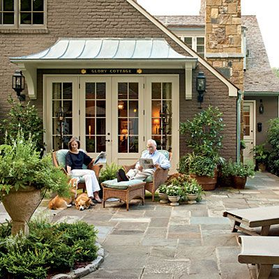 Perfect patio: The Doors, Idea, French Doors,  Terraces, Master Bedrooms, Outdoor Spaces, Capes Cod, Stones Patio, Courtyards