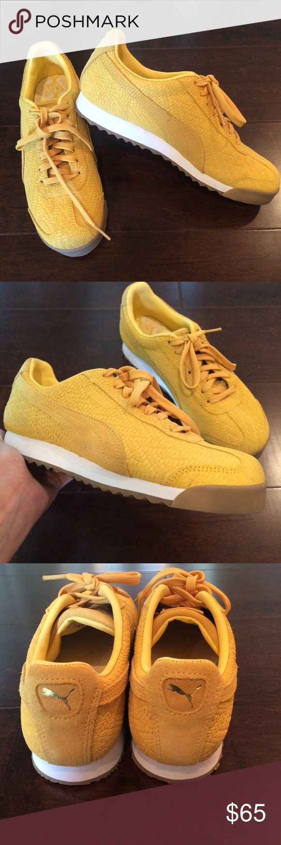 Puma classics NWOT New without box, unworn! Mustard yellow leather suede classic Pumas, embossed woven pattern, faint mark on right shoe from storage. Genuine leather, rubber sole. Fits true to size. No trades. Lowest. Puma Shoes Sneakers
