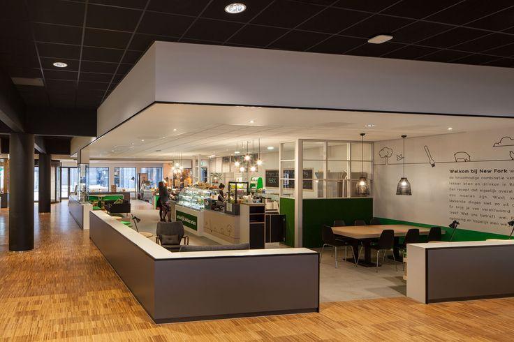 Interior design Erasmus Food Plaza Amsterdam; design by Ninetynine #wood #restaurant