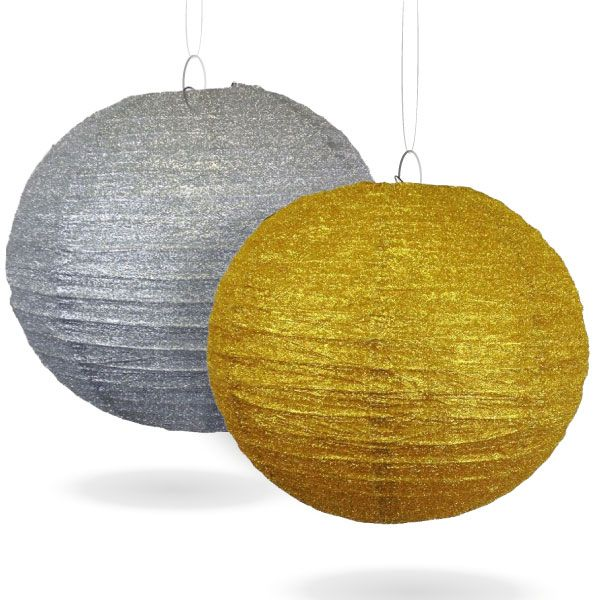 """Just Artifacts offers glitter paper lanterns for sale online. We have 8"""", 12"""" and 16"""" paper lanterns in gold and silver glitter. Order online today!"""