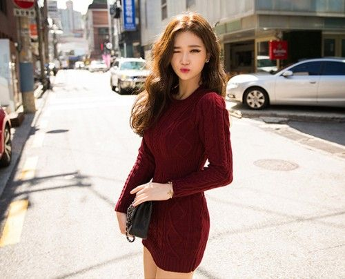 Modestly sexy is your peg for the day when you're wearing this twist knit sheath dress. Show off your curves without baring some skin for the cold and wear this dress with ankle boots. -Crew neck -Long sleeves -twist knit -Ribbed portions -Mid-thigh length -Available colors: wine, black