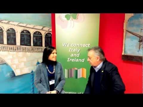 """Durante lo svolgimento degli incontri BtoB della FIBI, Francesca Camerlengo intervista lo chef italiano Paolo Fresilli, Presidente di """"Ciao Italia nel Mondo""""- Delegazione irlandese, l'associazione dei ristoranti italiani nel mondo."""
