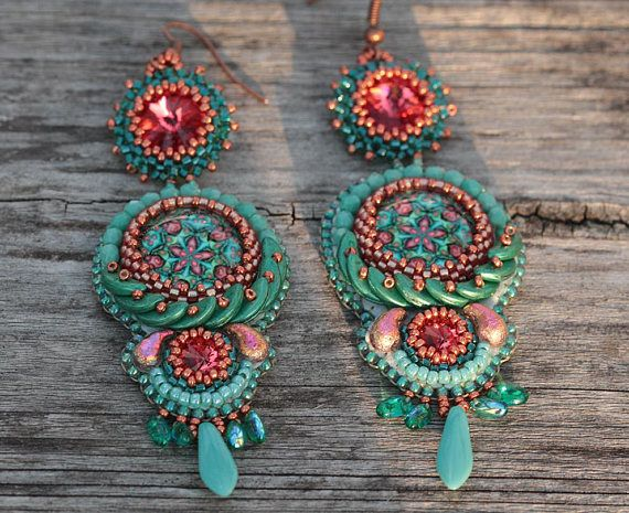 Check out this item in my Etsy shop https://www.etsy.com/listing/558233464/bead-embroidered-floral-dangle-earrings