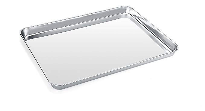Baking Sheet Zacfton Stainless Steel Cookie Sheet Toaster Oven Tray Pan Rectangle Size 16 X 12 X Stainless Steel Cookie Sheet Easy Cleaning How To Clean Rust