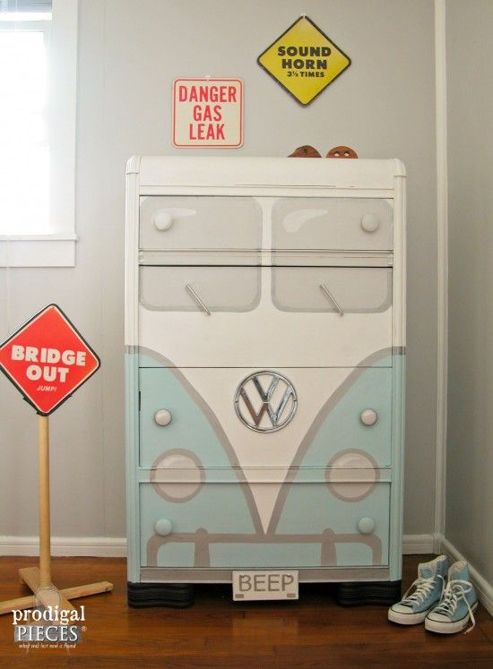When you're on the hunt for a good find, the key is looking at discarded furniture and envisioning what it could become and then breathing new life into old garage sale finds​. We're currently obsessed with a makeover that actually transformed a dresser into a Volkswagen bus.