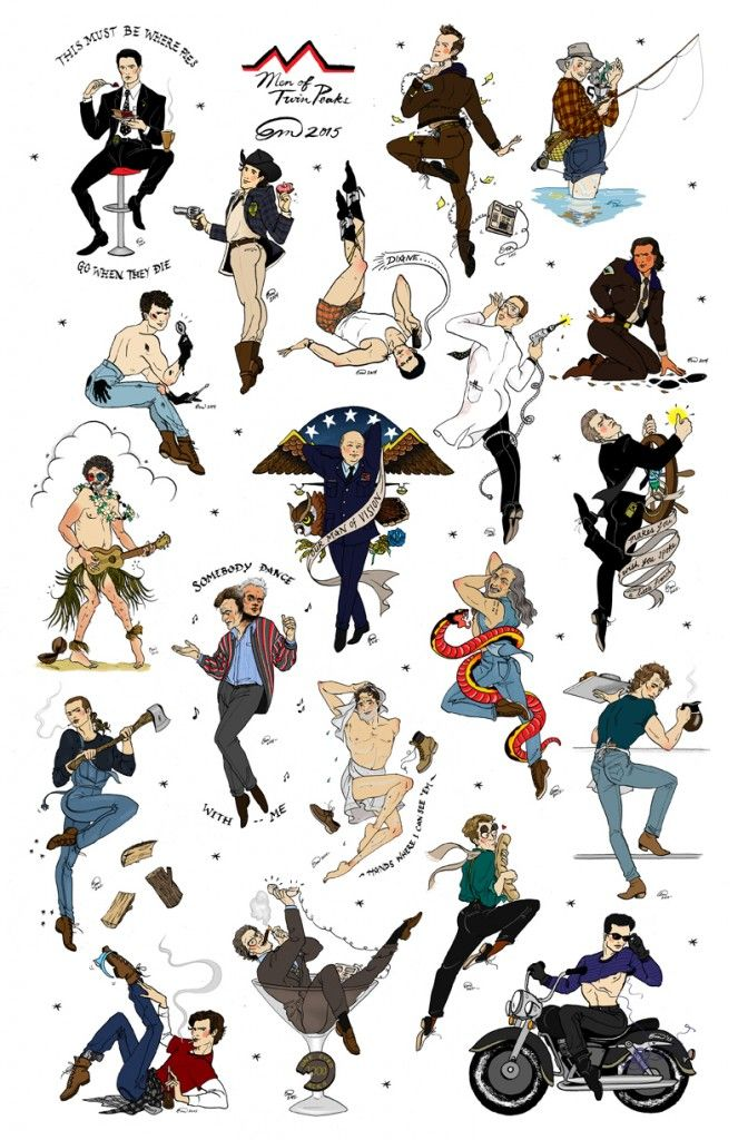 Men of Twin Peaks pin-up flash sheet - hilarious
