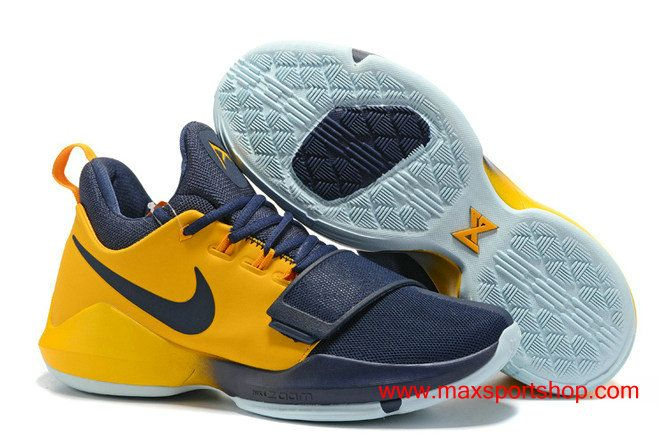 quality design 84fd1 3aa7c 2017 Nike PG1 iD Dark-blue Gold PG  13 Basketball Shoes