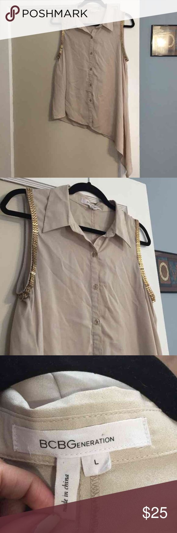 ⭐️BCBGeneration Top⭐️ Nude button up collared top. High-lo on one side. Has gold hardware detailing on the sleeves to make it pop😍in good condition! BCBGeneration Tops Button Down Shirts