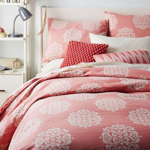 organic scroll medallion duvet cover shams rose bisque. Black Bedroom Furniture Sets. Home Design Ideas