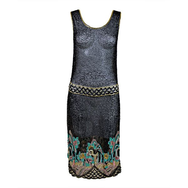 Fantastic 1920's Beaded Net Flapper Dress with Pastel Landscape ❤ liked on Polyvore featuring dresses, white cocktail dress, 1920s beaded dress, 1920s flapper dress, 1920s dress and white flapper dress