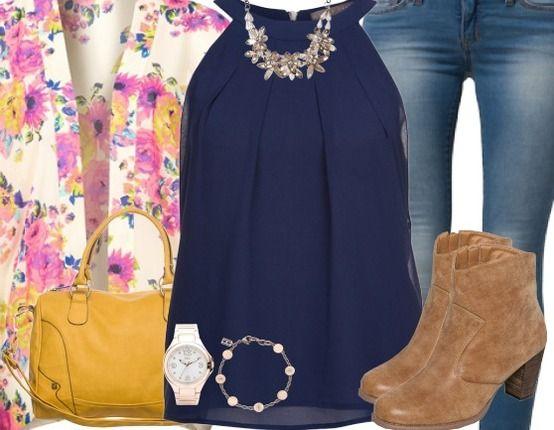 Freizeitoutfit mit Blumenblazer ♥ Hier kaufen: http://stylefru.it/s84698 #Top #Boots #Blazer #Kimono
