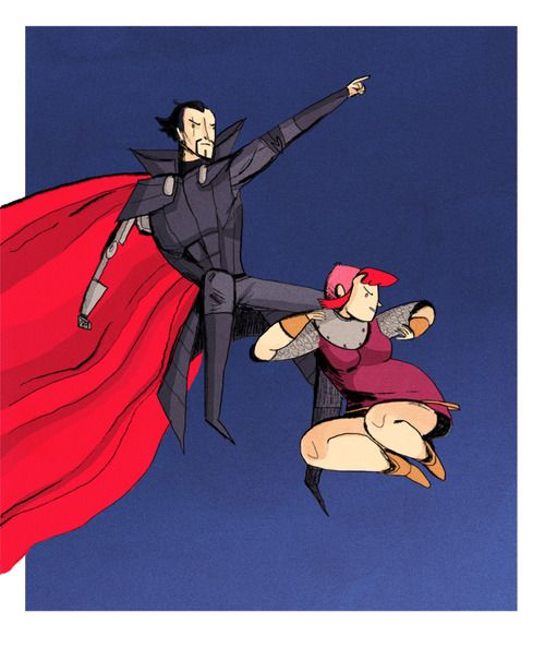 Noelle Stevenson's pinup for her comic, Nimona, riffs on the classic image of Batman and Robin originally drawn by Frank Miller and Klaus Jansen. Also, it's about one million kinds of brilliant. http://gingerhaze.tumblr.com