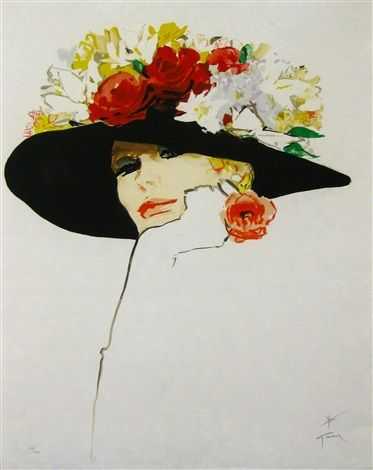 Flowered Hat - Le chapeau à fleurs by René Gruau