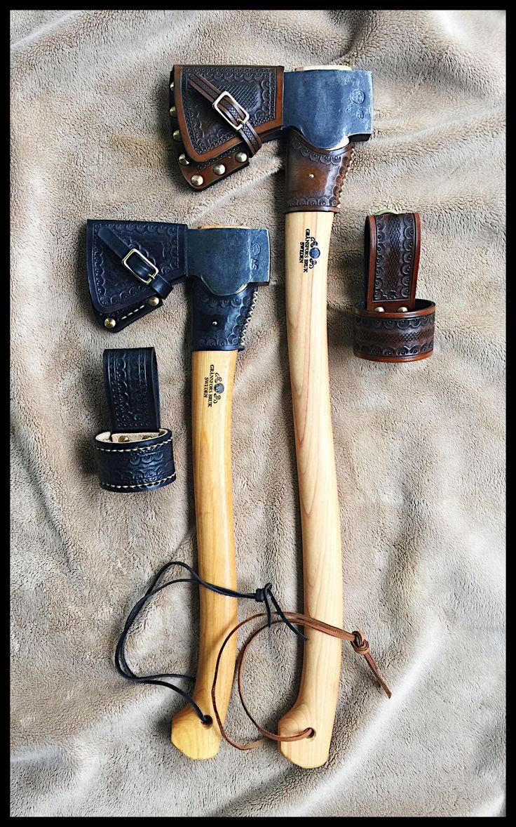 Gransfors Bruks Small Forest Axe & Scandinavian Forest Axe Custom Leather Work by John Black