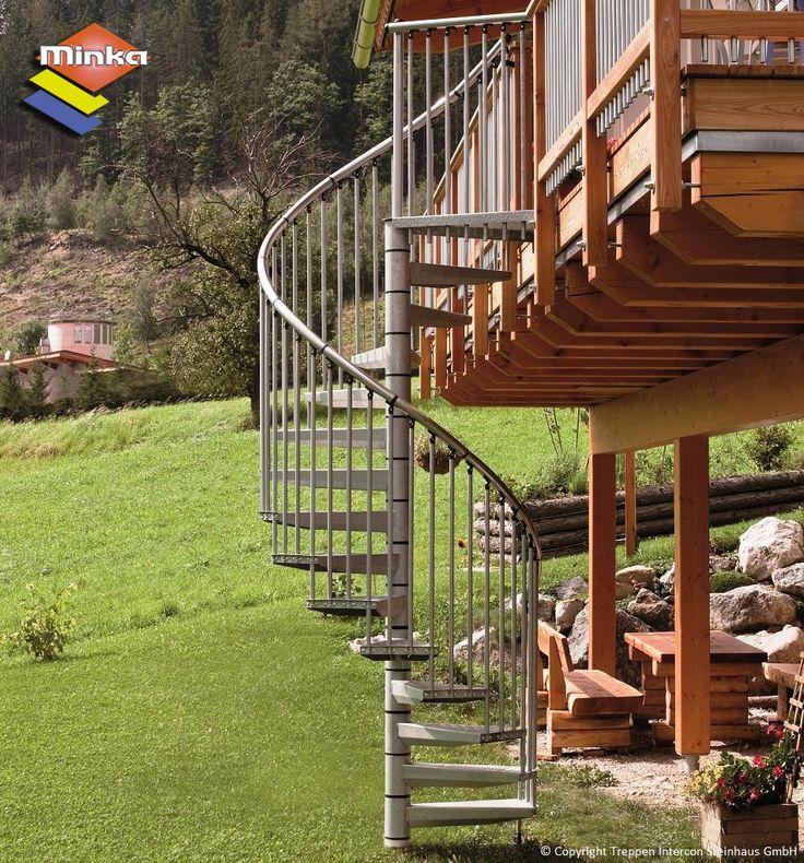 Außentreppe Minka Rondo Zink hier günstiger kaufen. Treppen Intercon