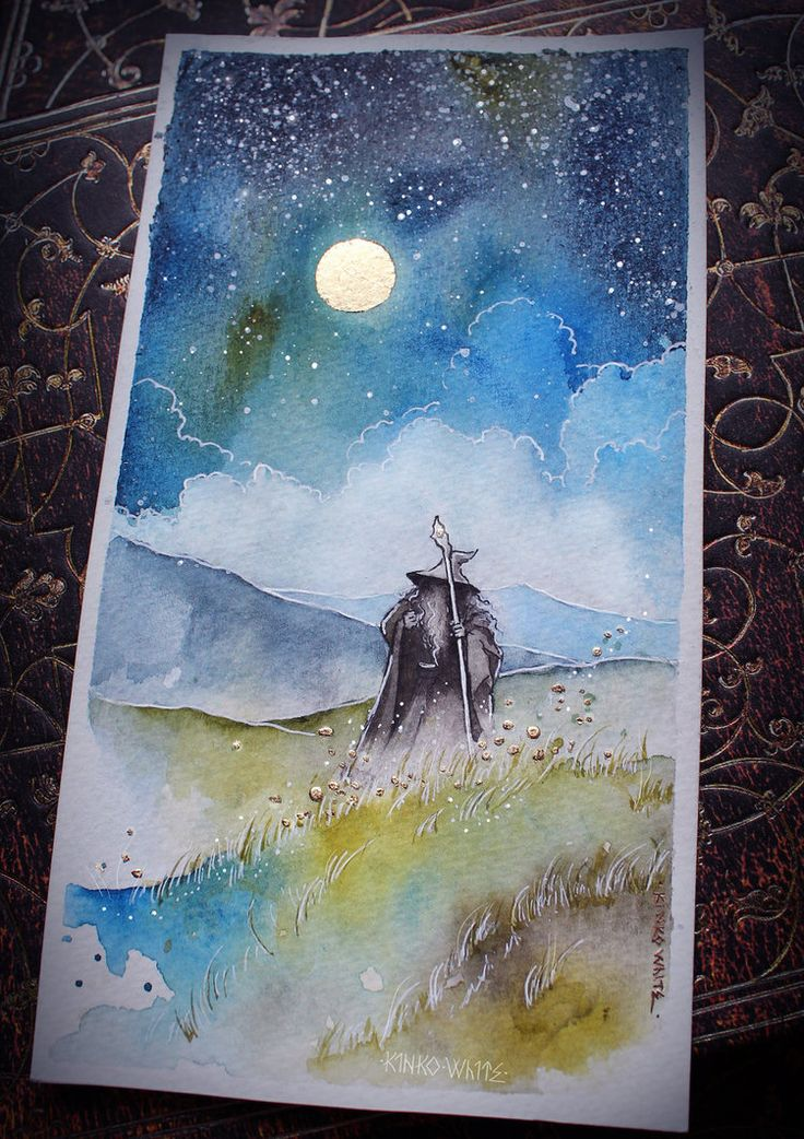Wizard  From Wilderland to Western shore, from northern waste to southern hill, through dragon-lair and hidden door and darkling woods he walked at will...;Materials: watercolors, ink, white gel p...