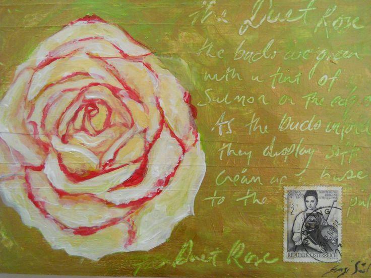 """Rose Inspiration 1' Acrylics on wood"