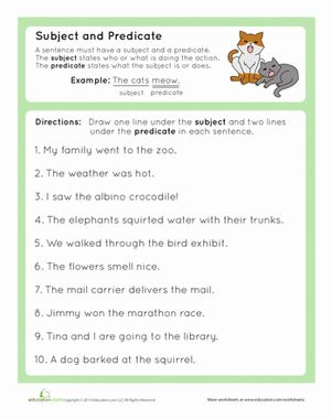 Get your third grader on board with the parts of a sentence with this worksheet that helps her practice identifying the subject and predicate of a sentence.