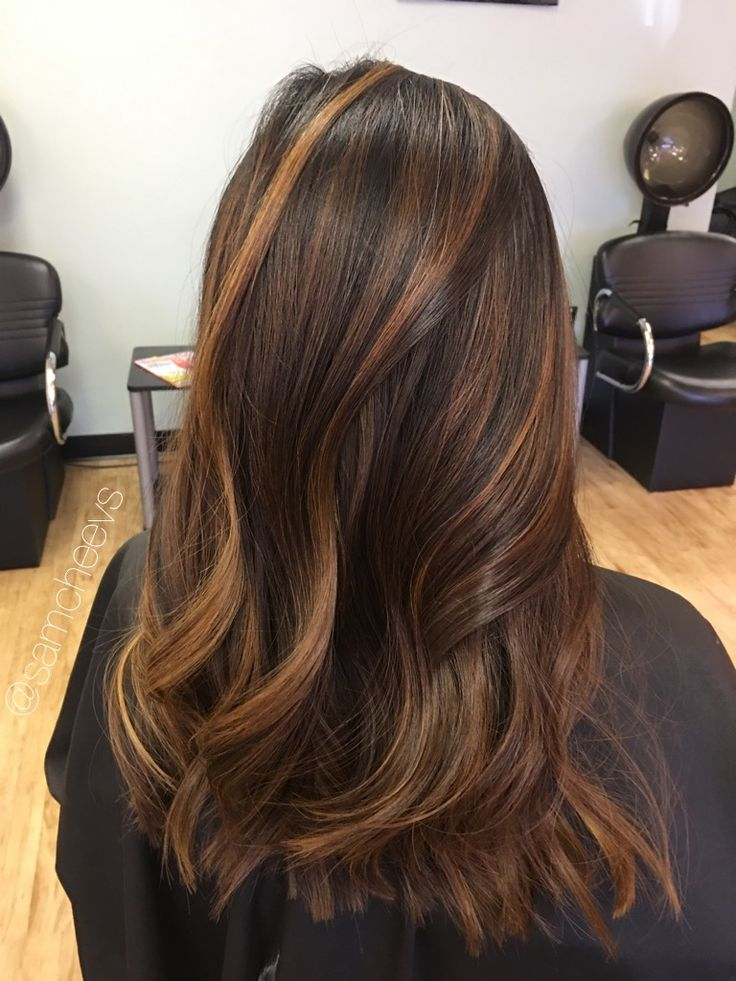 Dark Brown Hair Color With Caramel Highlights