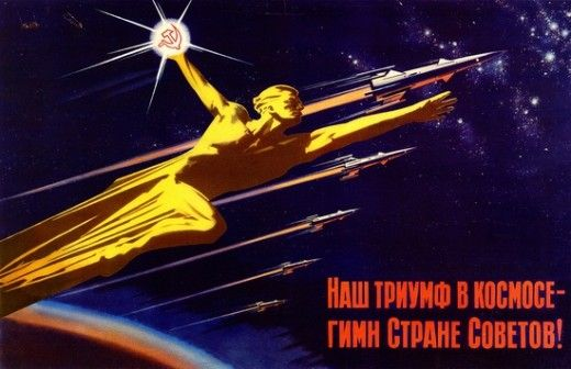 """""""Our triumph in space is the hymn to Soviet country!"""" -  Painted in the Socialist Realism style capturing the intensity of an era molded by the paranoid and the dramatic."""