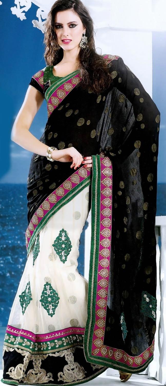 #Black and Off White Viscose and Net Lehenga Style #SareewithBlouse @ $169.39