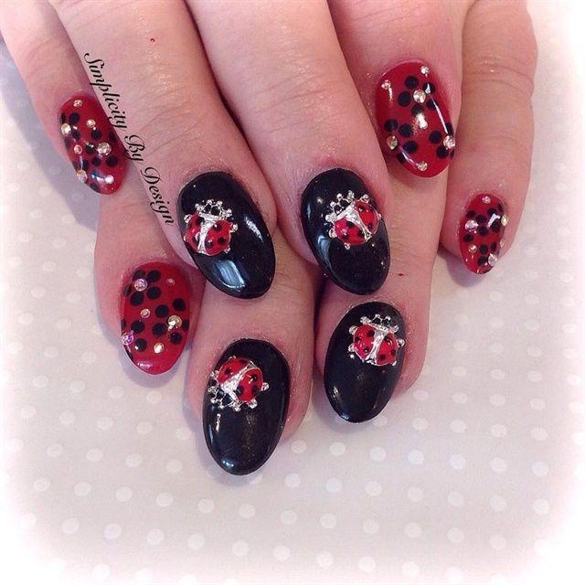 Day 141 Flower Ladybug And Star Nail Art Star Nail Art Nail Art Star Nails