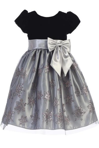 52d3ea359a9d Silver Glittered Snowflake Girls Holiday Dress w. Cap Sleeve Velvet Bodice  C527