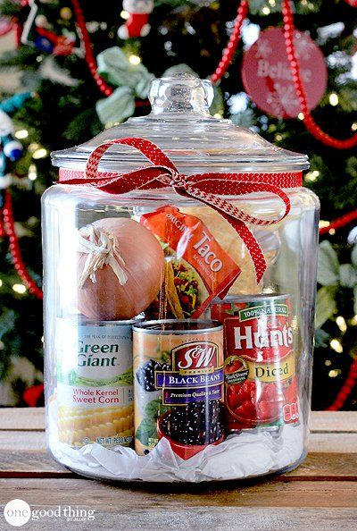 Gifts In A Jar - lots of ideas. This one is for Taco Soup