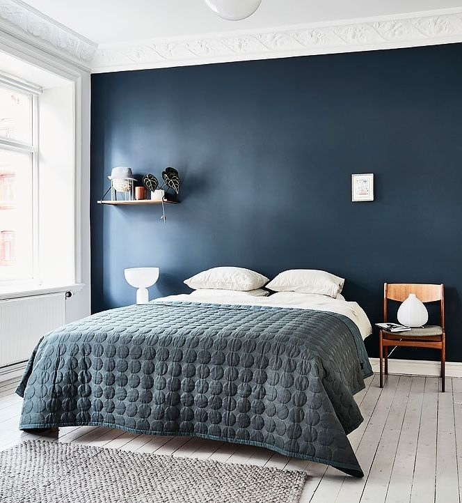 dark blue wall bedroom the image kid. Black Bedroom Furniture Sets. Home Design Ideas