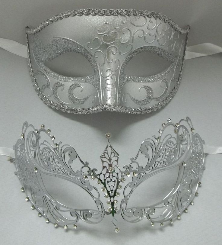Lovers Men Woman Couple Silver Metal Glitter Venetian Masquerade Ball Mask Masks
