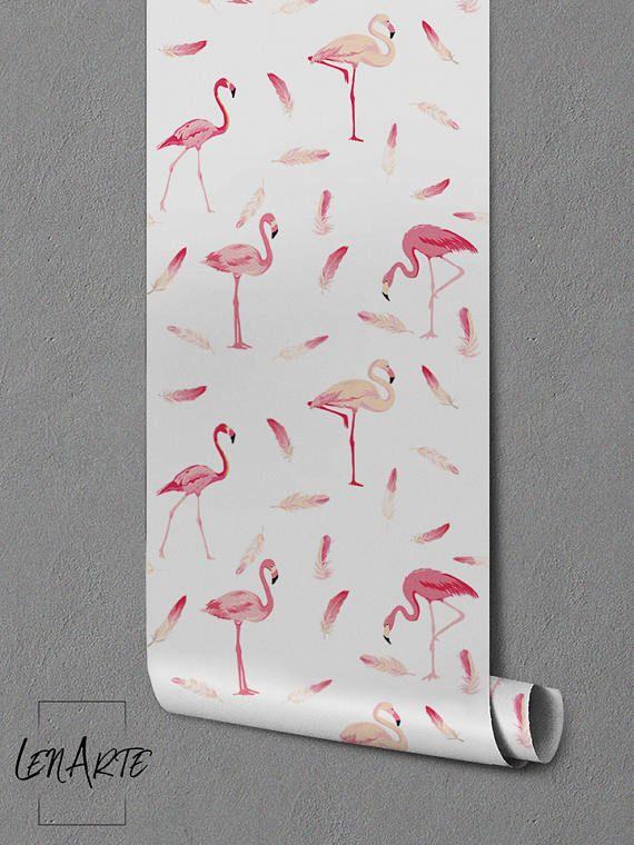 Flamingo Wallpaper lijm verwisselbare behang