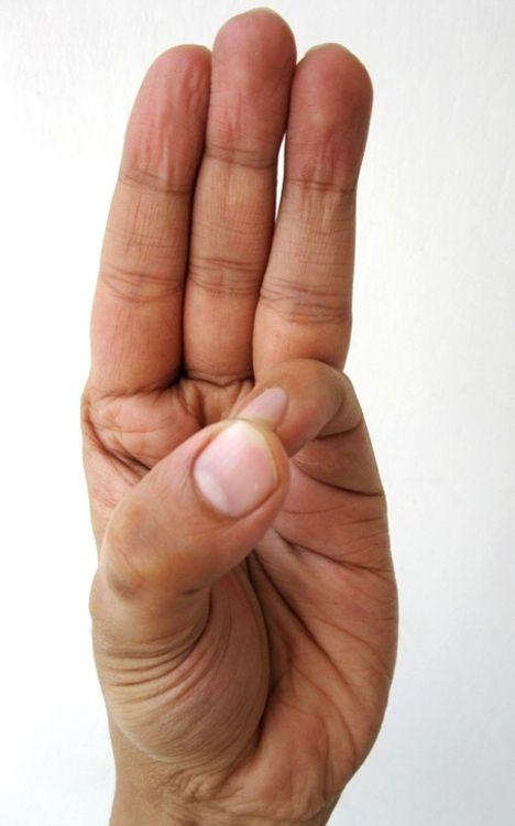 Bhudi Mudra -restaura el equilibrio de líquidos, trata de sequedad (piel seca, boca seca, ojos secos), trastornos de los riñones y la vejiga
