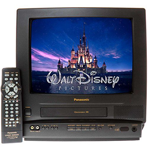 "Panasonic PV-M1338 13"" TV/VCR Combo + 12 Disney VHS Movies  Panasonic PV-M1338 13-inch Color TV with a built-in VCR to play/record VHS tapes, Tower Remote Control included  Front A/V input jacks for Gaming or attaching a DVD player; Front Earphone jack for privacy  Auto Head Cleaner, Auto Clock Setting, Closed caption system, Digital Auto Tracking, HQ Picture Technology, Commercial Skip  1 Year, 8 event Programable Recording, Auto repeat, Auto return, Wake up/Sleep timer  BLANK VHS TAP..."