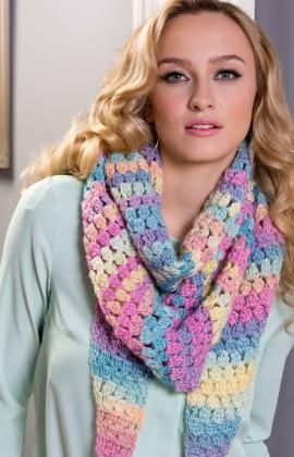 Cluster Stitch Wrap using Red Heart Boutique Unforgettable yarn.