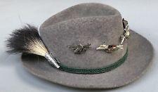 Vintage German Bavarian Octoberfest Gray Felt Alpine Hat w/Boar Brush & 7 Pins