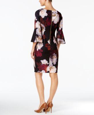 641b91f8 Calvin Klein Floral-Print Bell-Sleeve Sheath Dress - Purple 12 ...