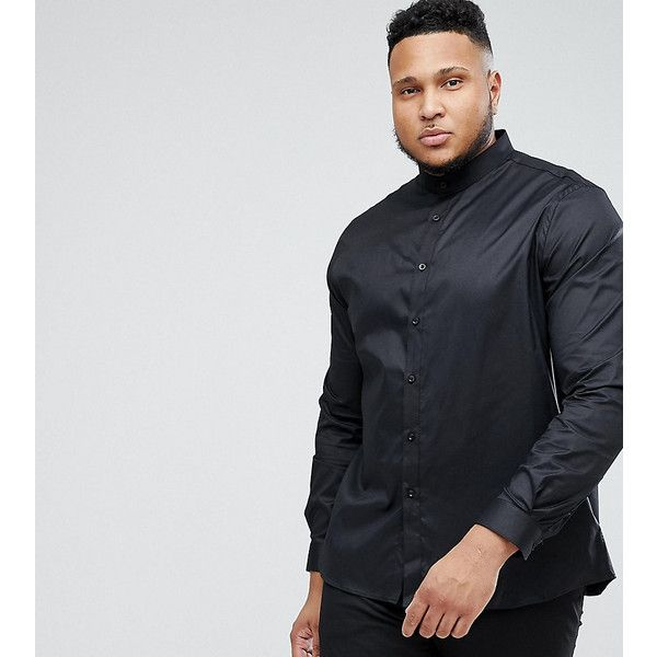 Heart & Dagger PLUS Skinny Shirt With Grandad Collar ($53) ❤ liked on Polyvore featuring men's fashion, men's clothing, men's shirts, men's dress shirts, black, mens button down dress shirts, mens curved hem t shirt, mens grandad collar shirt, mens button up dress shirts and mens tailored dress shirts