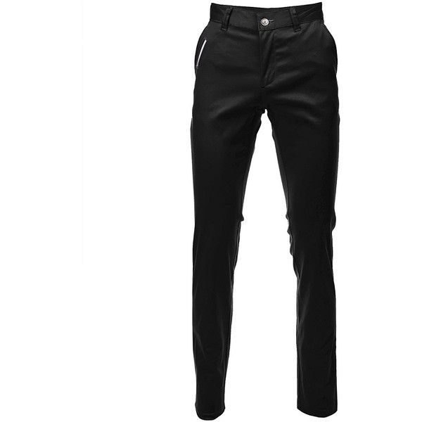 FLATSEVEN Mens Slim Fit Chino Pants Trouser Premium Cotton ($15) ❤ liked on Polyvore featuring men's fashion, men's clothing, men's pants, men's casual pants, mens slim fit pants, mens pants, mens chinos pants, mens chino pants and mens wide leg pants