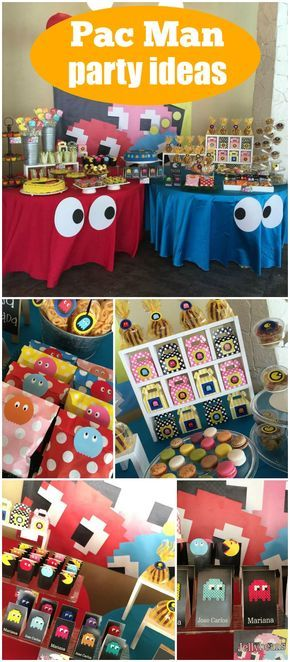 How cool is this Pac-Man retro party?! See more party ideas at CatchMyParty.com!