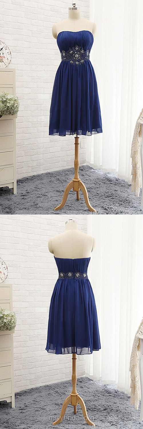 Royal Blue Homecoming Dresses,Chiffon Beading Party Gowns,Beautiful Short Cocktail Dress,Strapless Prom Dresses,Blue Graduation Dresses