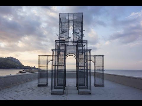 For the Italian festival Meeting del Mare , art collective Incipit created a wire mesh sculpture as a public art installation. Built by hand, the translucent structure is located on the waterfront of Marina Do Camerota in Italy. To see how the building was set up, take a look at the video below. The site-specific installation is curated by artist Edoardo Tresoldi together with Simone Pallotta and Antonio Oriente. It's the latest of a series of Tresoldi's sculptures using wire mesh.