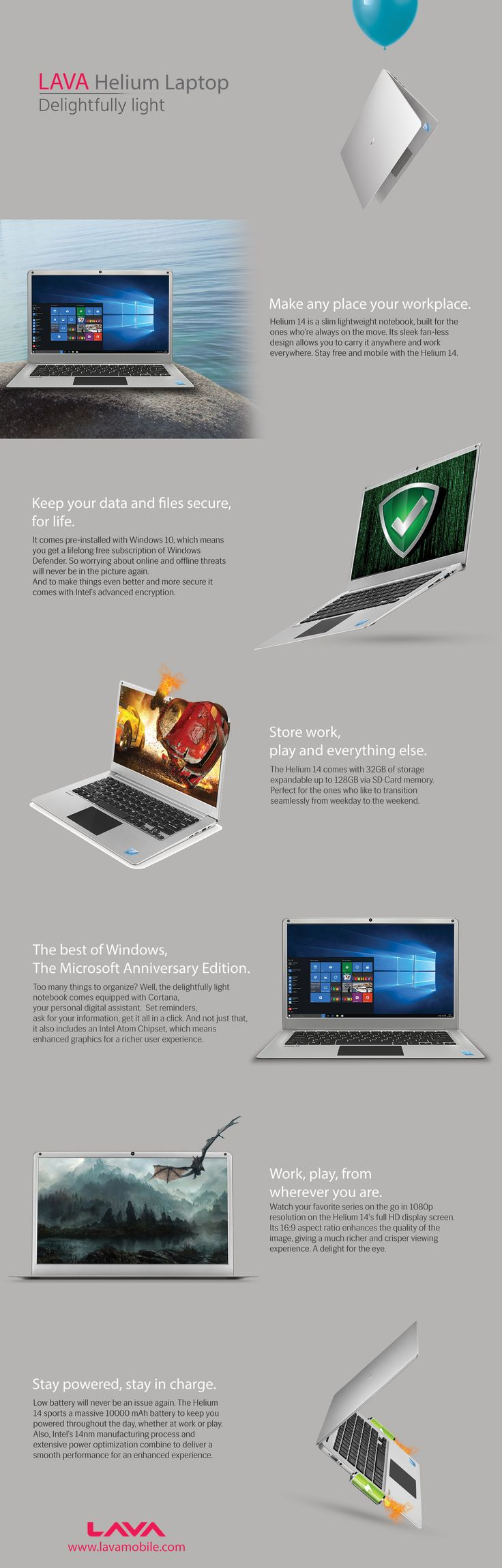 Best Lightweight LAVA Helium Laptop – Infographic Lava brings their latest notebook with window 10 and delightfully light. Helium 14 is a slim light weight notebook, built for the ones who're always on the move. So with best lightweight laptop make any place your workplace.