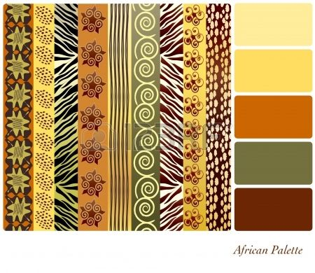Patrones africanos del estilo con muestras de colores complementarios photo