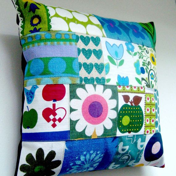 Unique Mod Retro Scandinavian Fabrics Patchwork Pillow / Cushion Cover in Blue ~ madebylisajane @ etsy