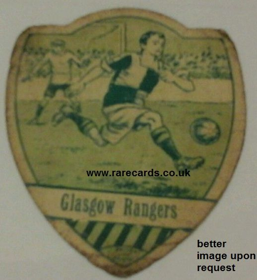 1900s Baines North Parade shield card of Glasgow Rangers BUY IT NOW for less than £70 including insured postage : https://www.paypal.me/rarecards/66.33