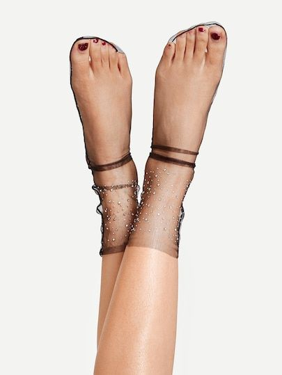 5c62daef2a8f3 Shop Rhinestone Decorated Slouch Net Socks online. SheIn offers Rhinestone  Decorated Slouch Net Socks & more to fit your fashionable needs.