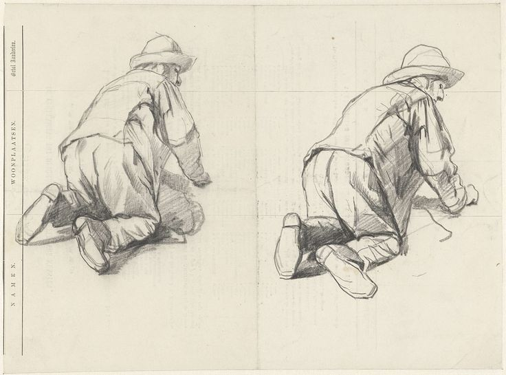 Guillaume Anne van der Brugghen   Twee studies van een op zijn knieën werkende man, Guillaume Anne van der Brugghen, 1821 - 1891   Twee studies van een op zijn knieën werkende man; getekend op de achterzijde van een intekenlijst van Arti et Amicitiae.