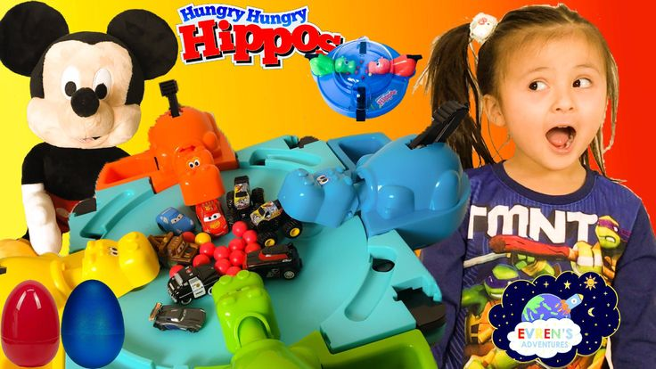 HASBRO HUNGRY HIPPOS! Hungry Hippos eats Disney Cars Hot Wheels Monster Jam Trucks Toys Surprise Egg Family Fun Game. Thanks for joining Evren's Family opening and playing with the the Hungry Hippos Grab & Go travel version and the original version of Hippos game from Hasbro. Evren and her mummy had a fun time playing these toys challenges trying to eat the most Disney Cars and Hot Wheels Monster Jam Trucks Team Hot Wheels. The winner of these fun Hungry Hungry Hippos games gets surprise…