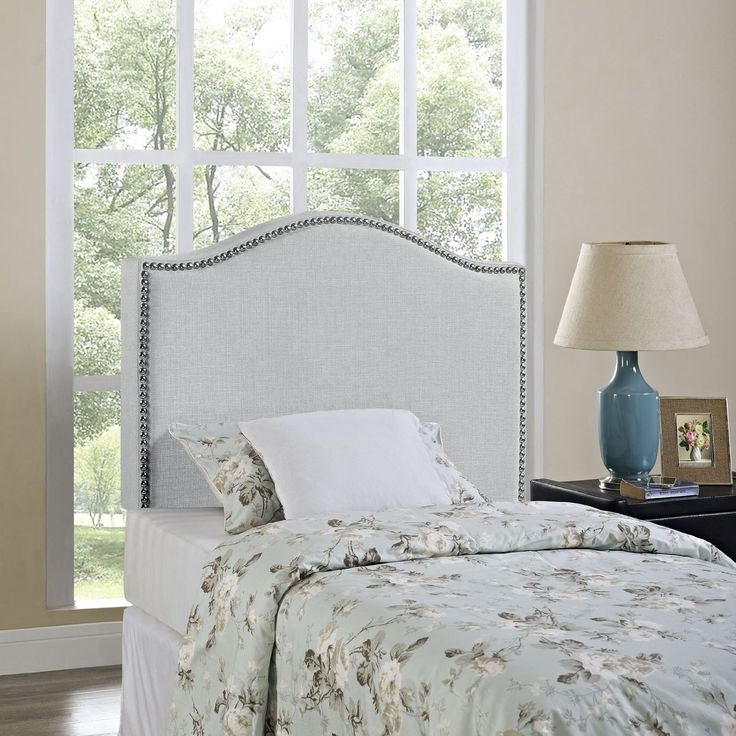 Wood Modway Upholstered Linen King Headboard Size With Nailhead Trim and Curved Shape in Sky Gray Fabric