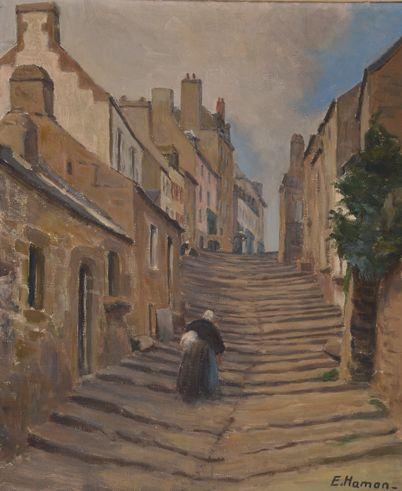 """Émile Hamon 1887-1979 """" La rue montante """" Pont Croix ..merci"""